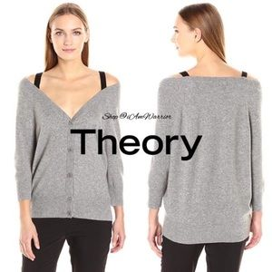 Theory cashmere cold shoulder cardigan sweater